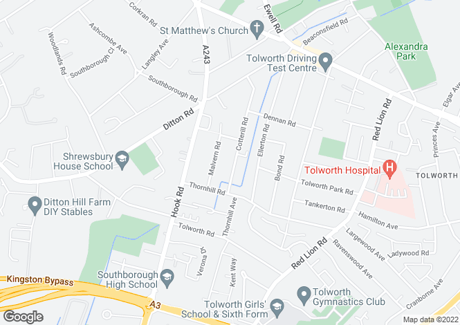 Map for Cotterill Road, Surbiton
