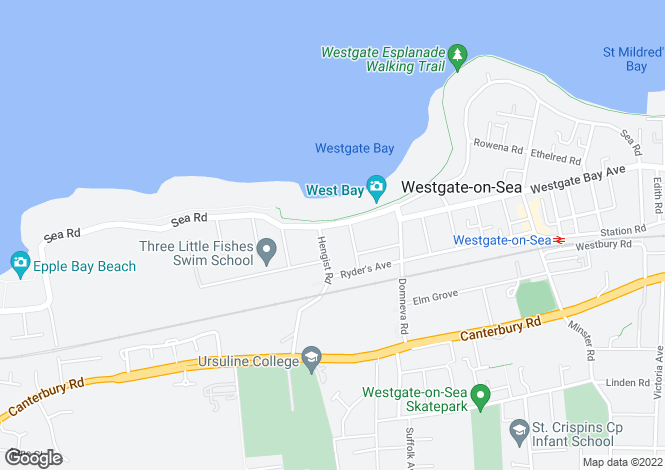 Map for Sea Road, WESTGATE-ON-SEA, Kent