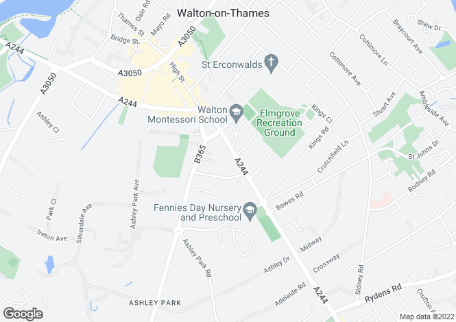 Map for Hersham Road, Walton-on-Thames