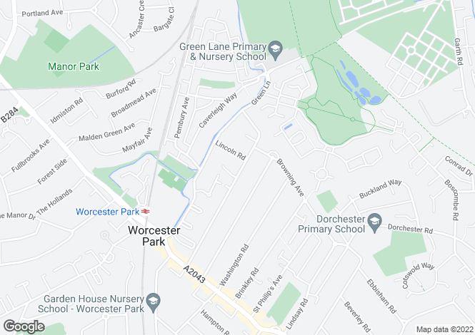 Map for Longfellow Road, Worcester Park