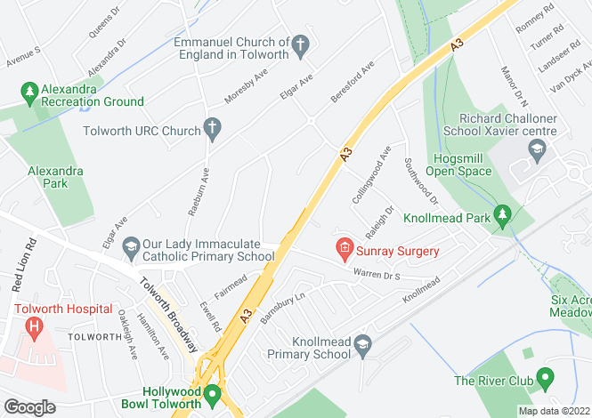 Map for Tolworth Rise North, Surbiton