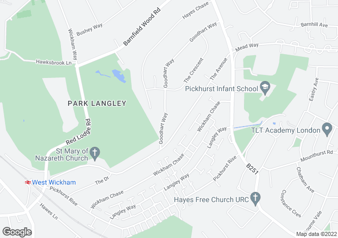Map for Goodhart Way, West Wickham, Kent