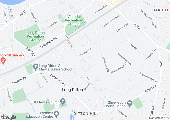 Map for Long Ditton, Surbiton, Surrey, KT6
