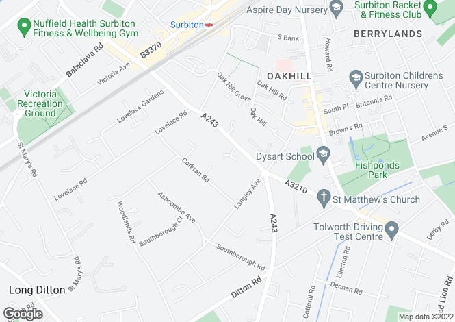 Map for Croylands Drive, Surbiton, KT6