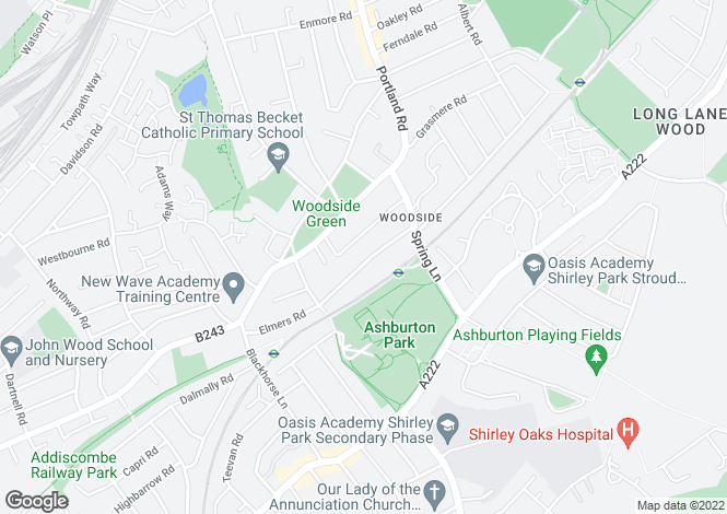 Map for Woodside Road, South Norwood, SE25