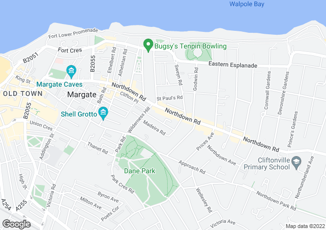 Map for Northdown Road, Cliftonville, Margate CT9
