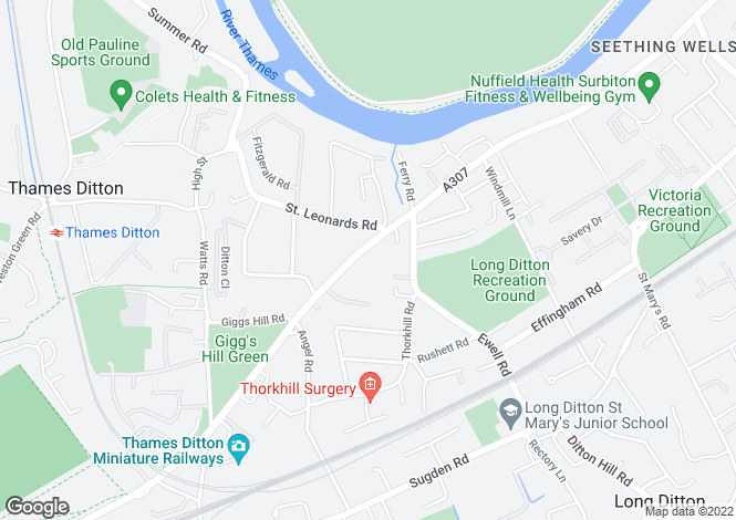 Map for Thames Ditton, Surrey, KT7