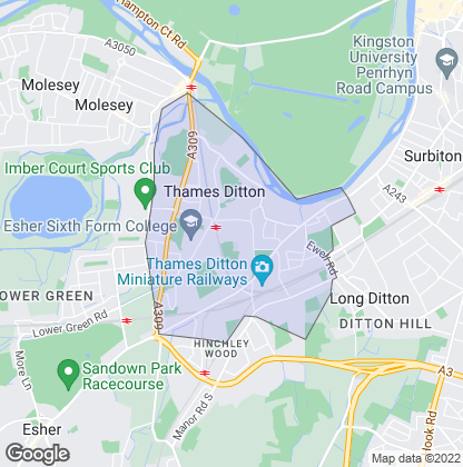 Map of property in Thames Ditton