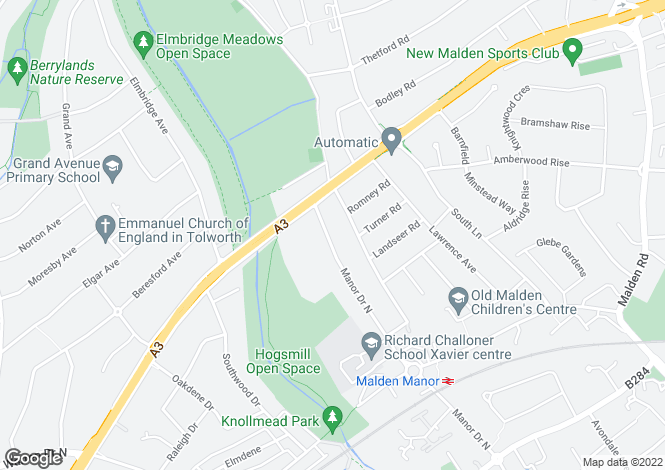 Map for Manor Drive North, New Malden KT3