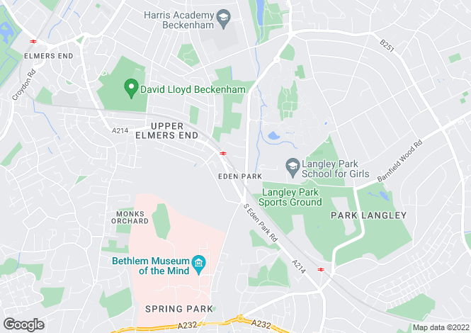 Map for Upper Elmers End Road, Beckenham, Kent
