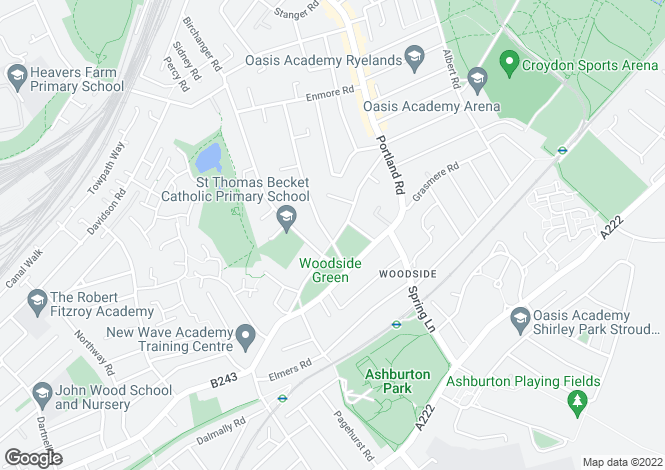 Map for Woodside Green, Woodside, SE25
