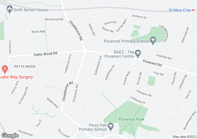 Map for Sutherland Avenue, Petts Wood, Kent