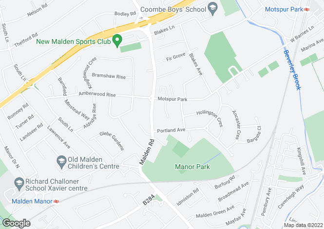 Map for Broadlands Way, New Malden