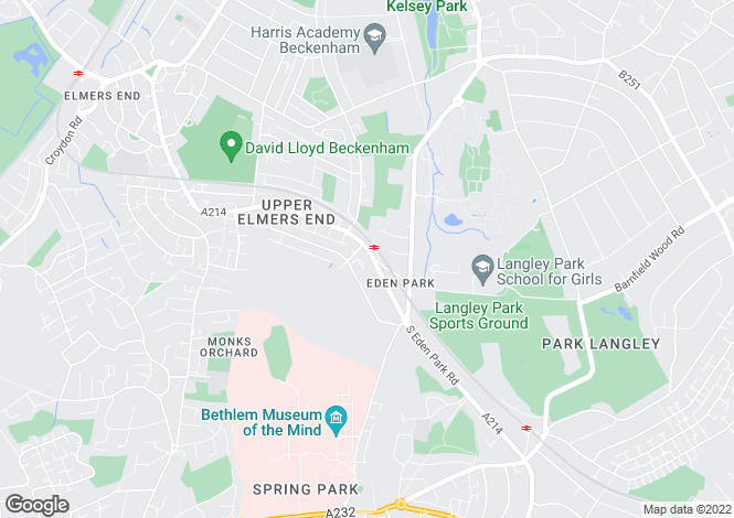 Map for Upper Elmers End Road, Beckenham
