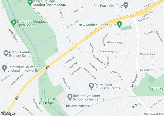 Map for South Lane, New Malden