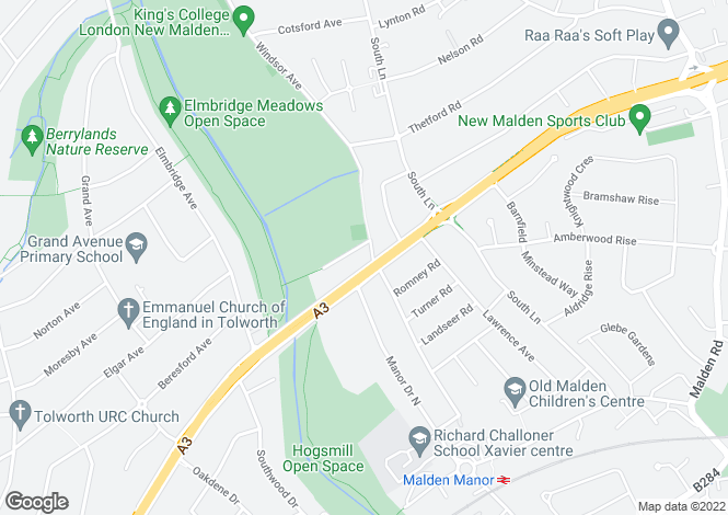 Map for Malden Way, New Malden, KT3