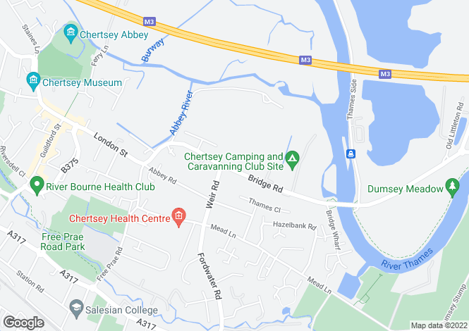 Map for Bridge Road, Chertsey, KT16