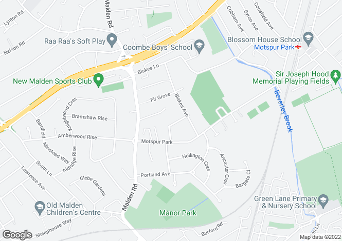 Map for Wendover Drive, New Malden