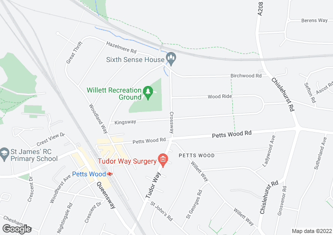 Map for Crossway, Petts Wood, Kent
