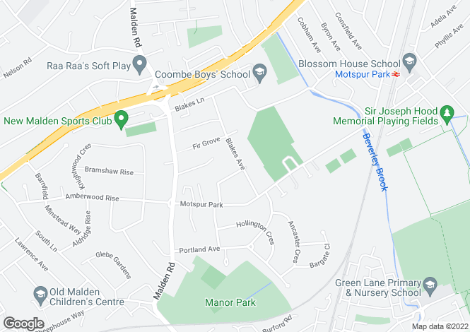 Map for Blakes Avenue, New Malden, London, KT3 6RJ