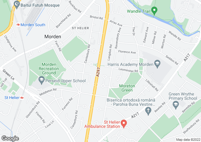 Map for St. Helier Avenue, Morden SM4