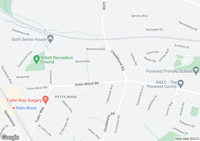 Map for Kingsway, Petts Wood, Kent