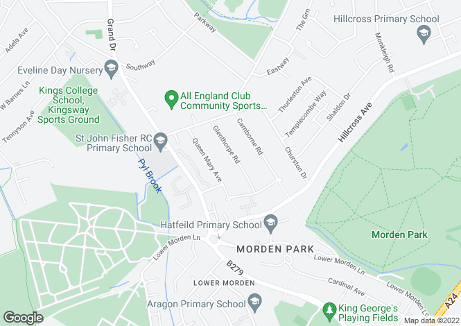 Map for Glenthorpe Road, Morden, Surrey
