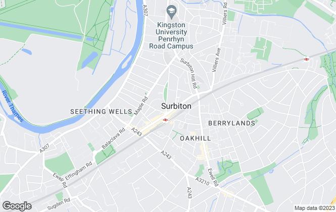 Map for Hamptons International Sales, Surbiton