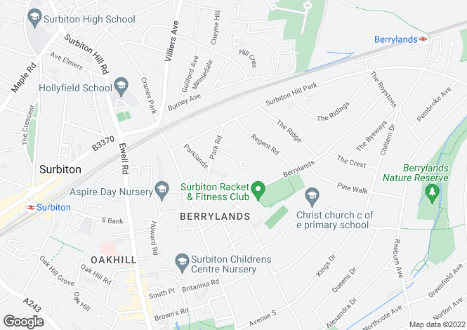 Map for Seymour Gardens, Surbiton, Surrey, KT5