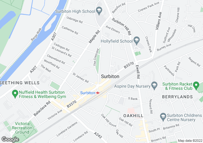 Map for Surbiton, Surrey, KT6