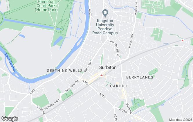 Map for Hamptons Lettings, Surbiton