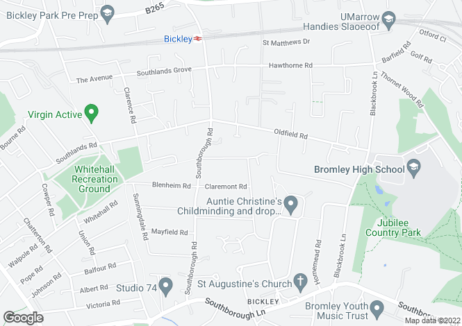Map for Park Hill, Bickley, Kent