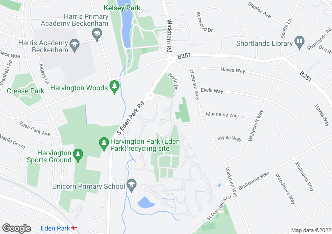 Map for Bucknall Way, Beckenham, Kent