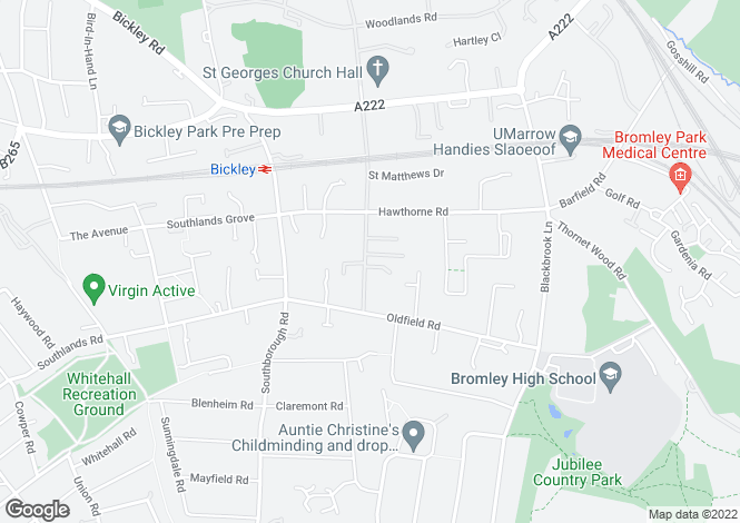 Map for St Georges Road, Bickley, Kent