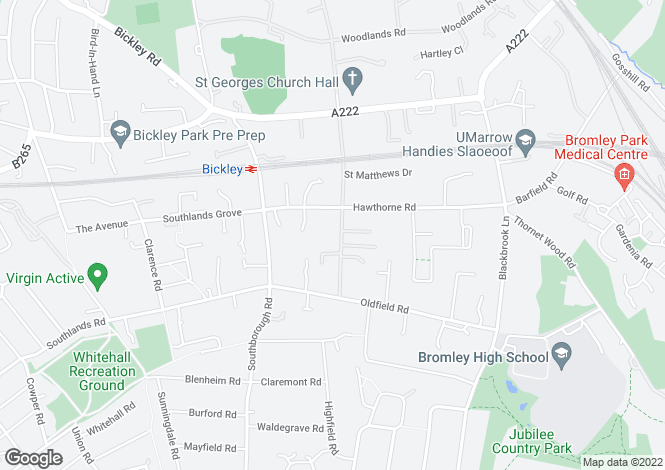 Map for St. Georges Road Bickley BR1
