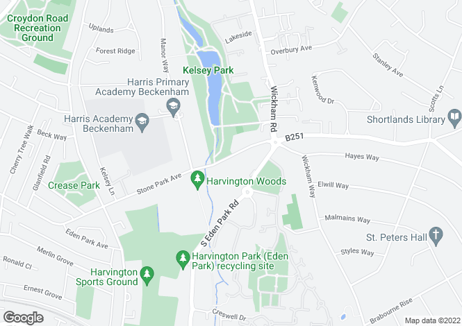 Map for Stone Park Avenue, Beckenham