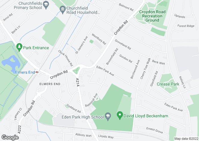 Map for Eden Park Ave, Beckenham