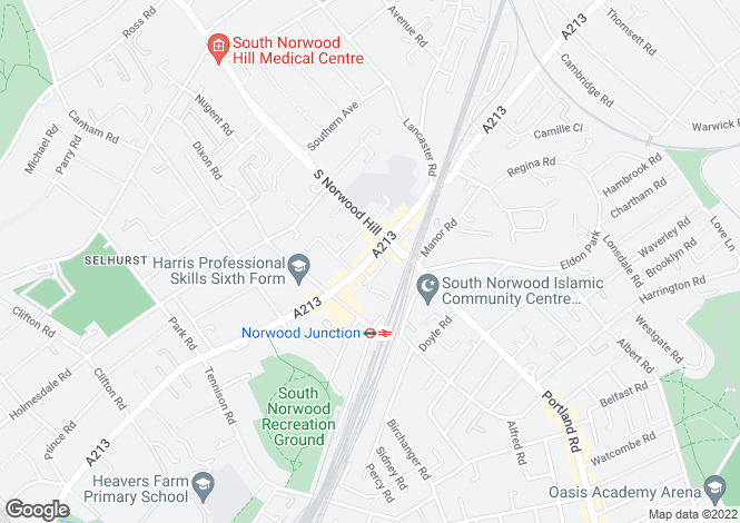 Map for Shop, High Street, South Norwood, SE25