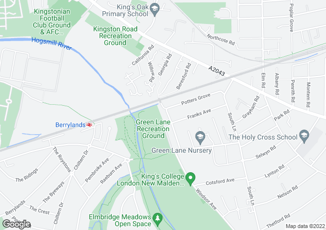 Map for South Park Grove, New Malden