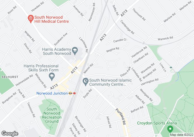 Map for Sunnycroft Road, South Norwood, SE25