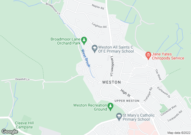 Map for Symes Park, Weston