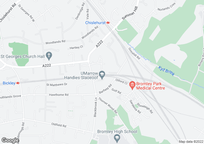 Map for Shornefield Close, Bickley, Bromley, Kent, BR1 2HX