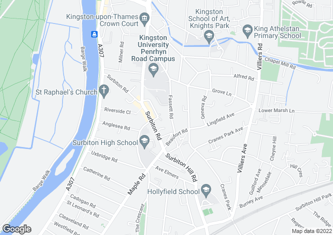 Map for Fassett Road, Kingston, KT1