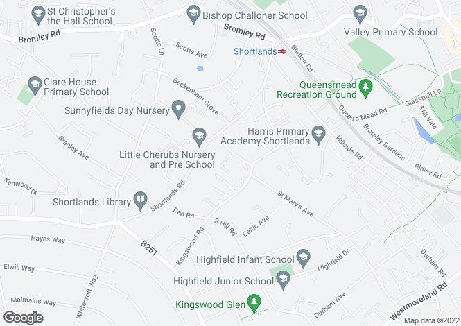 Map for Hazelwood House, Church Road, Shortlands, Bromley