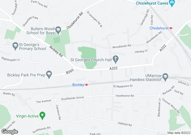 Map for Bickley Park Road, Bromley