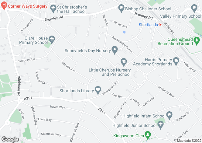 Map for Oates Close, Shortlands, Bromley