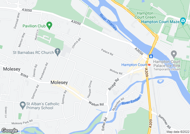 Map for Wolsey Road, East Molesey, Surrey. KT8 9EN
