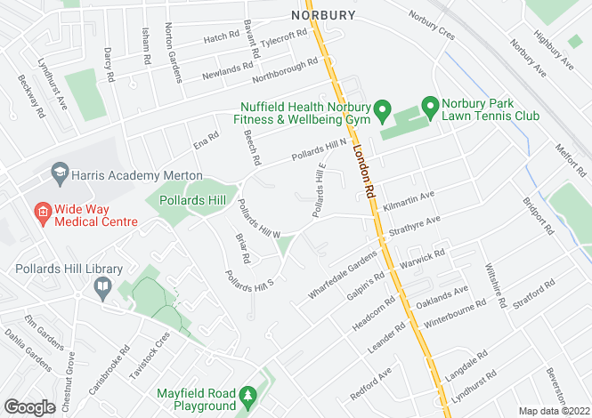 Map for Pollards Hill East, Norbury