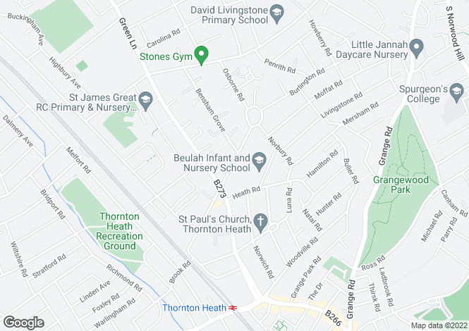 Map for Beulah Road, Thornton Heath