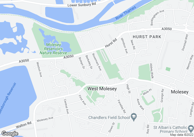 Map for Rosemary Avenue, West Molesey